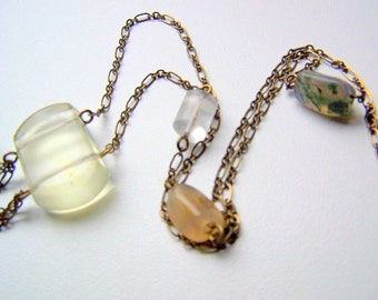Antique Brass Chain Necklace with Asymmetrical Agate, Quartz, and Moss Agate Stones