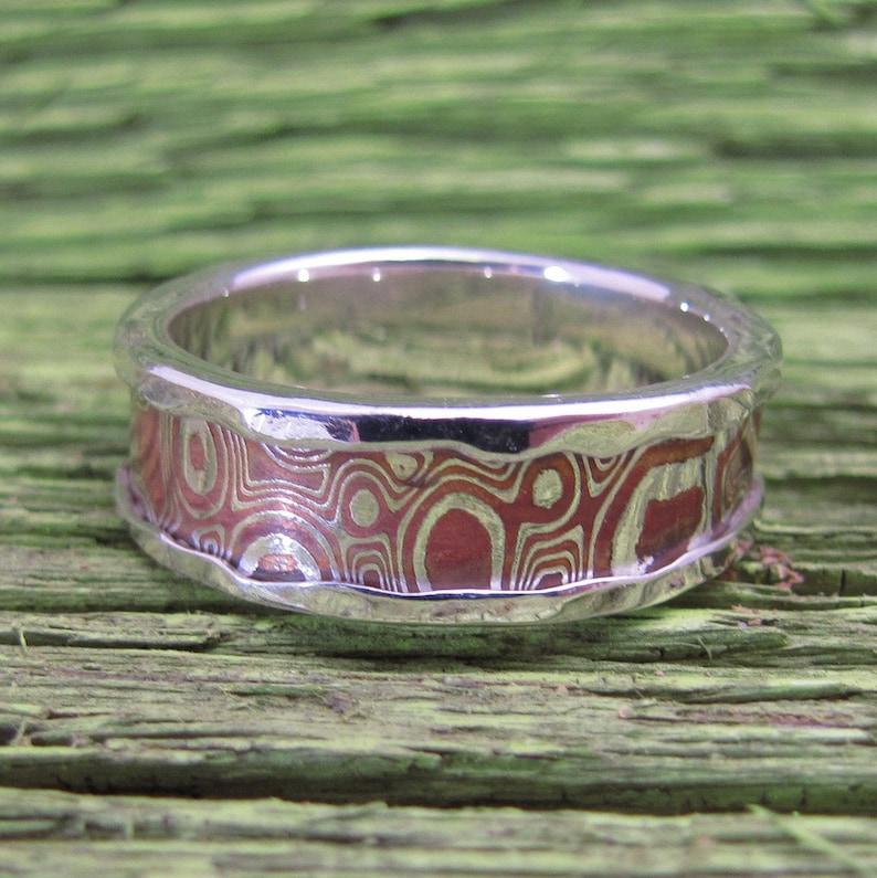Mokume Gane Inlayed Mens Argentium Silver Ring