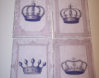 Vintage Crowns Journaling Tags set of 8