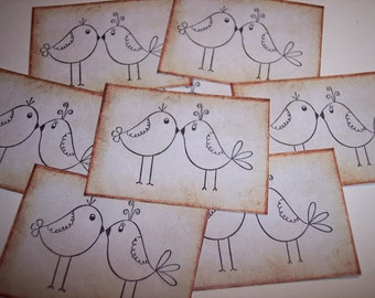 Love Birds Hand Stamped Stickers set of 8