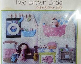 Happy House dolls activity soft toy set pattern Two Brown Birds design