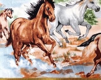 Burrangong Creek Australian horses brumbies cotton quilt fabric by the fat quarter (50cm x 55cm) more available