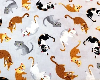 Cats, kittens grey gray Kaufman Whiskers & Tails cotton quilt fabric by the fat quarter (50cm x 55cm) more available