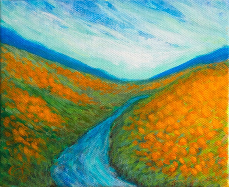 WAS 165 NOW 100 Landscape California Orange Poppy 8 x 10 image 0