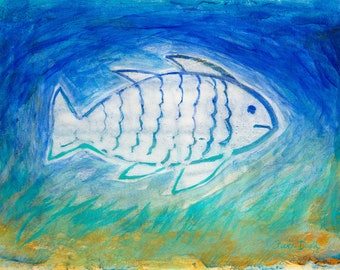 Fish Art Painting 12 x 9 inch Original Acrylic Children's Room Decor Beach Nautical Contemporary Modern Art Blue Turquoise Gold Wall Decor