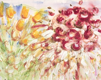 Abstract Floral Watercolour Painting on Paper Red Crimson Yellow Orange Green Modern Contemporary Art