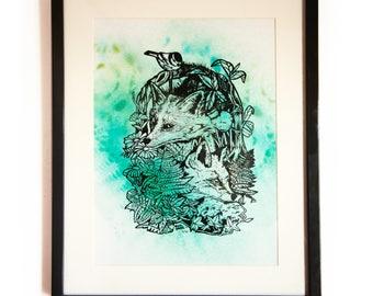 Little Fox Screenprinted/ Spraypaint A3 Print