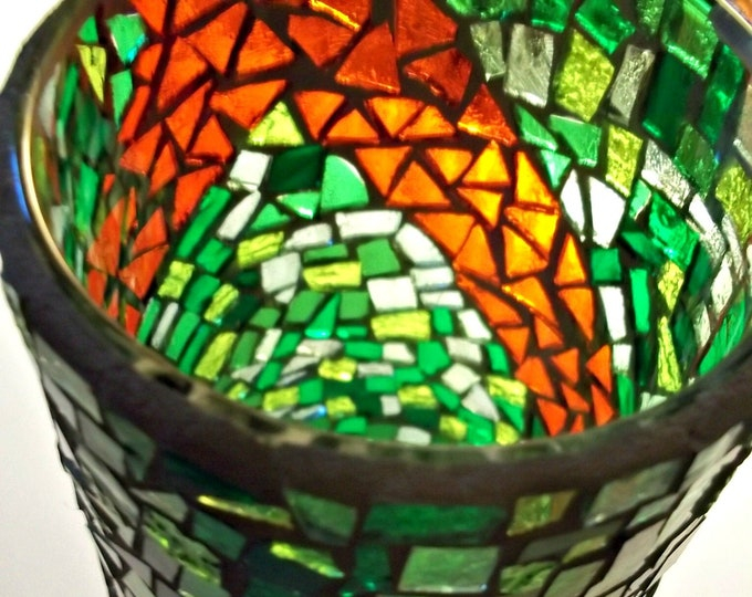 Featured listing image: Holiday Stained Glass Vase, Mosaic Candle Holder, Holiday Decor, For The Home, Vase, Candle Holder, Mosaic, Stained Glass - 7-1/4 x 3-1/2 in