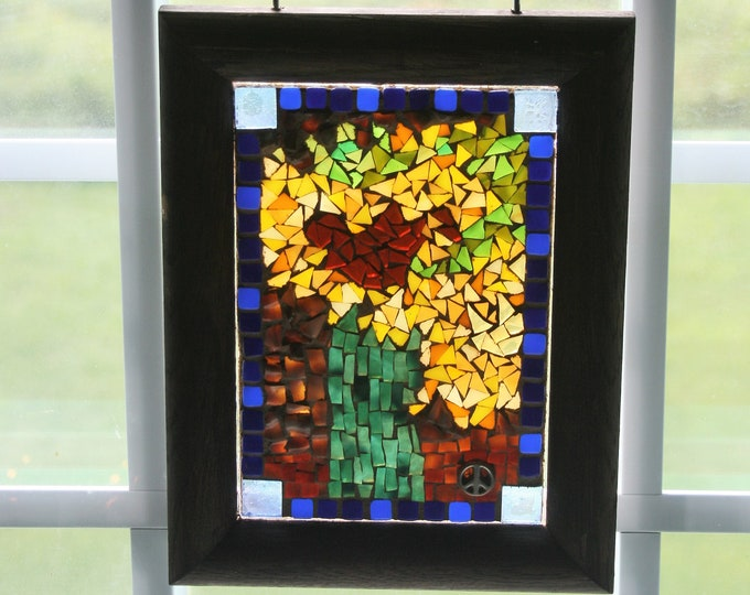 Featured listing image: Mosaic Sunflowers, Window Hanging, Wall Hanging, Wall Art, Stained Glass Sunflowers, Modern, Contemporary, Flower Mosaic, New Home,Christmas
