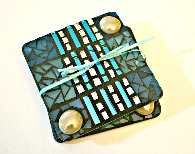 Featured listing image: Mosaic Coasters, Stained Glass Mosaics, Trivets, Great Gift Idea,Coworker,Birthday, Housewarming, Wedding, Hostess Gift, Christmas, Hanukkah