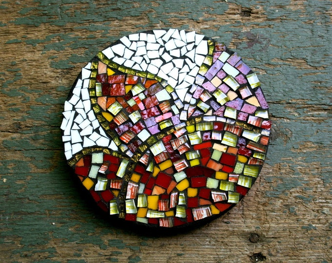 Featured listing image: Mosaic Flower Wall Art, Wall Hanging, Abstract, Modern, Red Flower, Birthday, Wedding, Anniversary, Retirement, Housewarming, Christmas