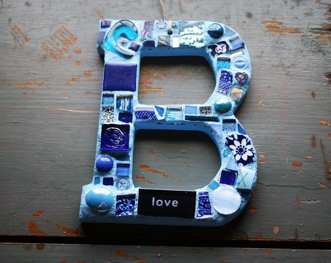 Featured listing image: Mosaic Alphabet, Letter B, B Love, Wall Art, Wall Hanging, Birthday, Childrens Room, 4 All Ages, Mixed Media, Stained Glass, Christmas