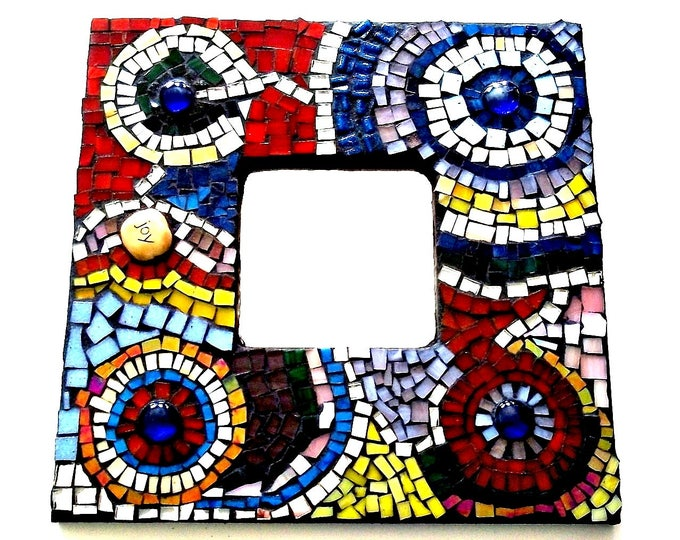 Featured listing image: Abstract Circles Retro Modern Mosaic Stained Glass Framed Mirror, Wall Art, Mosaic Mirror, Wall Hanging, Birthday, Wedding, Christmas