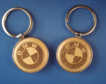 Wood Key Chain for BMW Lovers - Laser Engraved .  Great Birthday Gift for Him or Her!
