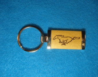 Wood Key Chain for Ford Mustang Lovers - Laser Engraved .  Great Birthday, Graduation or New Car Gift!