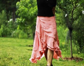 Bohemian Skirt , Silk maxi skirt / wrap maxi skirt