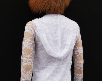 White Dress  //Little hoodie dress //Party dress //wedding dress//Women dress