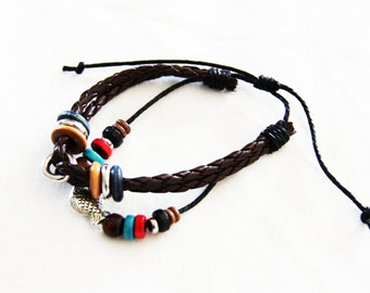 Leather Cuff Boho Bracelet, bohemian, boho bracelet  B006