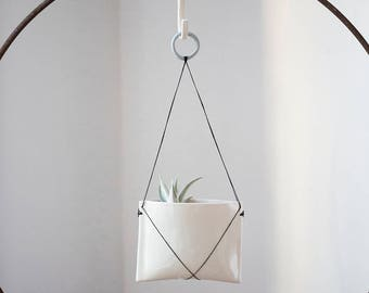 Hanging Porcelain Planter // Pillow Form with Black Linen Stitching