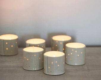 Hand built Porcelain Votives for Tea Lights