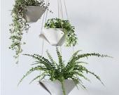 Fold Bowl Hanging Porcelain Planters