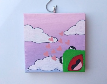 Frog love hand painted ornament green frog, one of a kind gift, one of a kind ornament, frog hanging decor, original painting