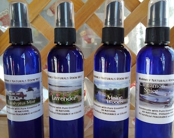 All Natural Essential Oil Room Mist Gift Set, Lavender, Maine Woods, Eucalyptus Mint, Cinnamon Spice, Hand blended in Maine