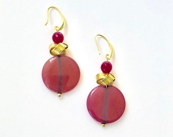 Taal Ladies in Pink Dyed Jade and Agate flat coin bead earrings