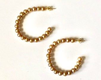 Dyed Gold Freshwater Potato Pearl Open Hoop Earrings