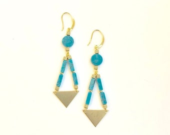 Magnesite turquoise Double  Triangle Geo Swing Long Dangle Earrings