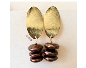 Morena Brown Heishi Freshwater Pearl Trio dangling from gold tone brushed long oval stud earrings —Free Shipping to anywhere in the US