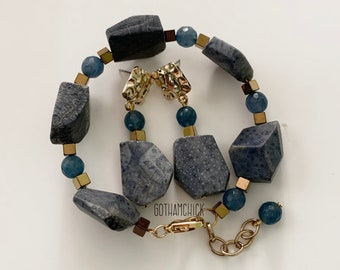 Indigo Blue Coral and Dyed Jade Earrings and Adjustable Bracelet Set - Purchase together or separately