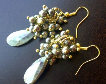 Rustic Green Chrysoprase and Freshwater Pearl Bouquet Earrings
