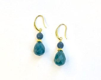 Nene Blue Dyed Jade Stack Earrings