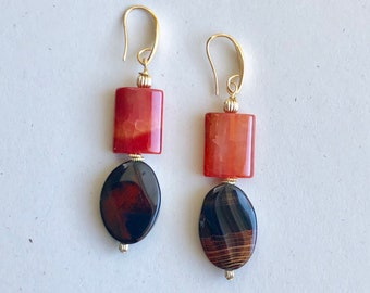 Autumn Mod Agate Orange Rectangle and Coffee Wavy Oval Duo Earrings