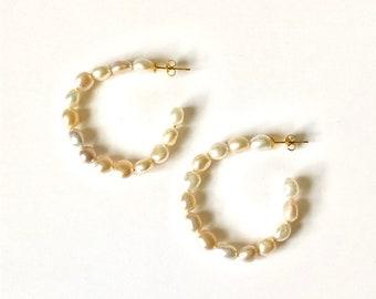 Natural Mix Freshwater Nugget Pearl Open Hoop Earrings