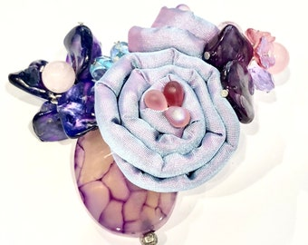 Purple Yam mixed Media Brooch with lavander ombre rose, agate, crystals, czech fire polish beads and rose quartz