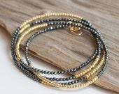 Pyrite & Gold Seed Bead Wrap Bracelet