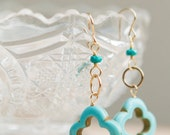 Turquoise Quatrefoil Earrings | Moroccan Jewelry | Mediterranean Ocean Jewelry | Tropical Resort Jewelry | Gifts for Her | Quatrefoil Drops
