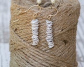 Keishe Pearls Stacked Earrings | Ocean Gifts | Wedding Jewelry | Bridesmaid Earrings | Beach Wedding | Bridal Jewelry | Dainty Dangles