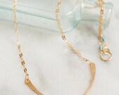 Gold Filled Hammered curved bar necklace