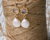 Brides Coin Pearl+Crystal  Earrings|Wedding Earrings|Bridesmaid Earring Gift|Dainty Jewelry|Daint Dangles|Wedding Day Gifts