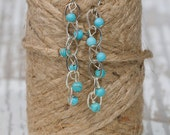 Bridesmaid Earrings: Turquoise Drop Beaded Earrings | Dangle + Drop | Something Blue Wedding Jewelry | Turquoise Jewelry | Cascading Jewelry