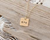 Hand-stamped Heart Monogram Necklace
