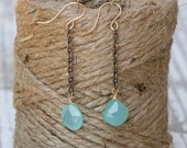 Seafoam Chalecodny Earrings on Oxidized Chain | Gemstone Jewelry | Something Blue | Long Dangle | Boho | Ocean Inspired | Sea Foam