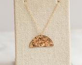 14K Gold Filled Hammered Half Moon Necklace