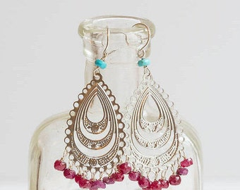 Ruby & Turquoise Silver Chandelier Earrings