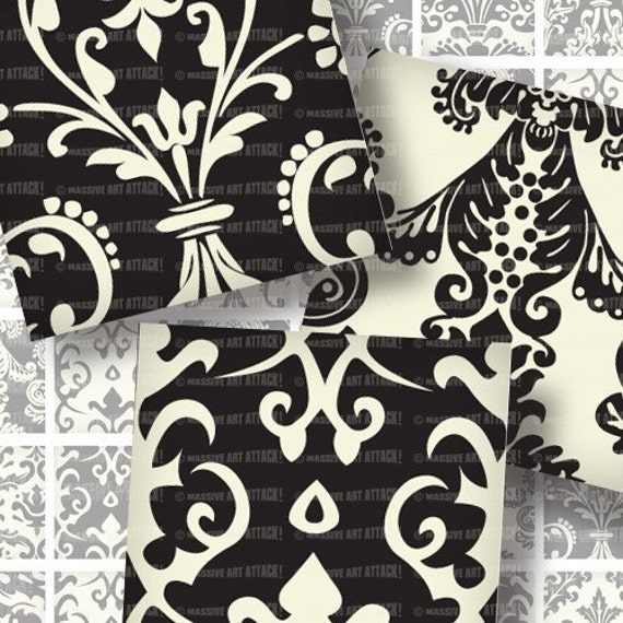 1 inch squares Digital Collage Sheet 154 Rich Damask Pattern