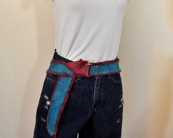 Blue Purple Fringed Upcycled Cotton Denim D Ring Belt Medium 1.5 x 44 Boho Recycle Rustic Denim Belt Blue Violet Dyed Denim BELT #53