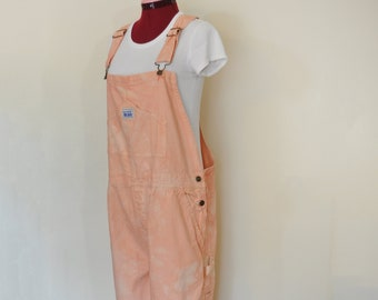 2d17cc65f6 Peach Large Cotton Bib OVERALL Pants - Coral Mottled Dyed NEW Rugged Blue  Painters Overalls - Adult Mens Womens Sz Large (38 W x 30 L)